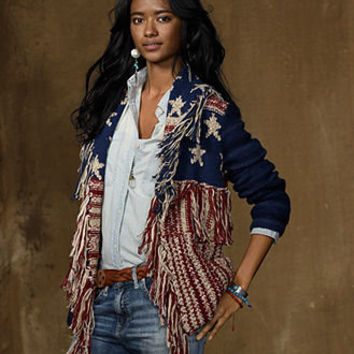 Denim & Supply Ralph Lauren Sweater, Long-Sleeve American Flag Fringe Cardigan - Womens Sweaters - Macy's