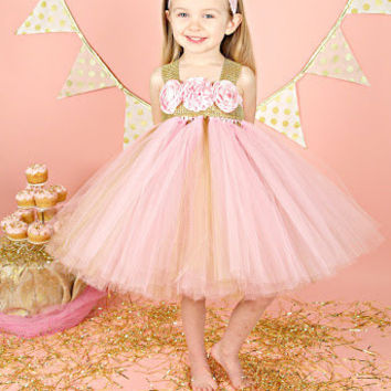 Pink and Gold Birthday Tutu Dress, Pink and Gold Flower Girl Tutu Dress, Gold Rhinestone Tutu Dress, Flower Girl Tutu Dress