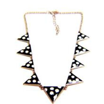 Polka Dot Triangle Enamel Chain Necklace