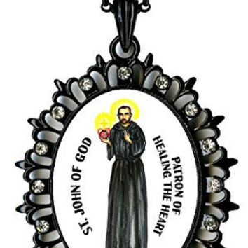 "Saint John of God Patron of Healing the Heart Huge 2 1/2"" Black Medallion Rhinestone Pendant with 4x6 Prayer Card Set"