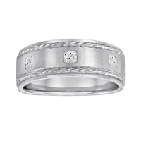 Sansone Collection 14k White Gold & Argentium Sterling Silver 1/5-ct. T.W. Certified Diamond Wedding Band - Men (White Gold/Silver)