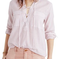 Madewell Terrace Stripe Lace-Up Shirt | Nordstrom
