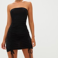 Black Bandeau Ruched Slinky Bodycon Dress