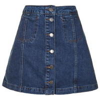 MOTO Vintage Wash Button Front Skirt - Topshop