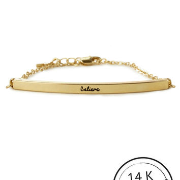 Believe Bar Bracelet with Charm by Kitsch {Gold}