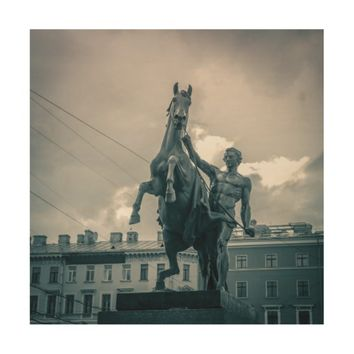 """The Horse Tamers"", St.Petersburg, Russia. Wood Print"