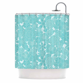 "Julia Grifol ""Turquoise Birds"" Aqua Blue Shower Curtain"