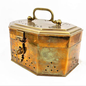 Large Brass Cricket Box, Hinged Lid with Handle, Footed Base, Vintage Home Decor