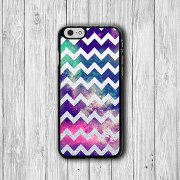 Grey White Glitter Chevron Galaxy Space iPhone Case - iPhone 6, iPhone 6 Plus, iPhone 5S, iPhone 5 Case, iPhone 5C, iPhone 4S Christmas Gift