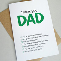 Thank you Dad fathers day card green black print modern