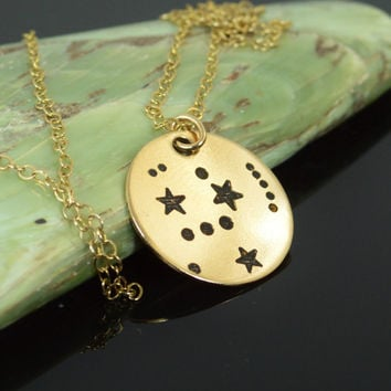 14k Gold Filled Orion Necklace, Gold Orion Necklace, Gold filled, Gold Constellation, Orion Jewelry, Zodiac Necklace, Star Pendant