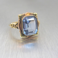 Antique Aquamarine Engagement Ring, Rose Gold Yellow Gold Emerald Cut Blue Gemstone 2.50 Ct.,Size 6.50 March Birthstone