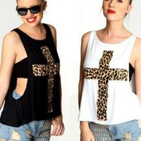 Black Leopard Cross Print Drop Hem Tanks