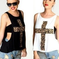 Leopard Cross Print Drop Hem Tanks