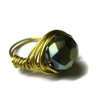 Iris Green Ring, Gold Wire Wrapped Glass Faceted Bead, Made to Order