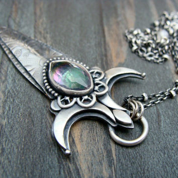 tiny dagger ... mystic quartz opera length pendant by sirenjewels