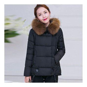 Winter Cotton Coat Slim Plus Size Thick Down Coat   black