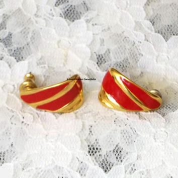 Trifari, Red and Gold Enamel Earrings, Pierced, circa 1980's