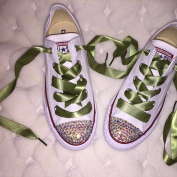 Chuck Taylor Converse AB Crystal Bedazzled Fronts Olive Green Laces