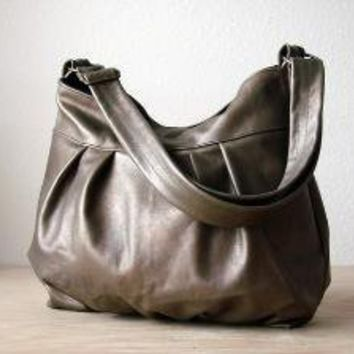 Baby Ruche Bag in Grunge Gold Leather  Made to by jennyndesign