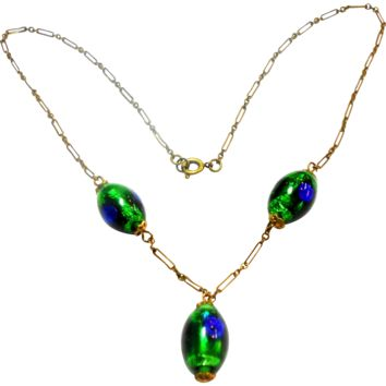 Peacock Eye Bead Paper Clip Chain Necklace circa 1930