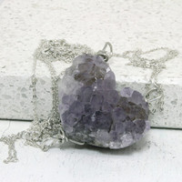 Druzy Friendship Necklaces set of 3  raw  Amethyst Pendants Silver wire  Item GS6 OOAK