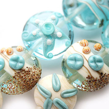 Glass lampwork beads Blue beach with shells, sand dollar and starfish -  SRA set by MayaHoney
