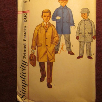 SALE Uncut 1960's Simplicity Sewing Pattern, 3180! Size 2 Toddler/Boys/Kids/Child/Collared Jackets/Trench Coats/Rain Coats/Winter Coats/Hats