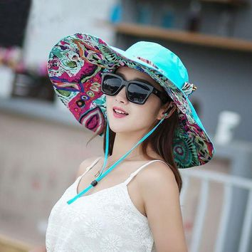 LMF78W 2017 Hot Sale Summer Women Anti-UV Hats Collapsible Face Protection Beach Hat Wide Big Brim Adjustable Sun Hat S4