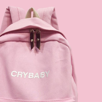 Crybaby pink kawaii canvas backpack