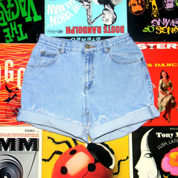 High Waisted 90s Denim Shorts, Light Wash Blue Jean LIZ CLAIBORNE Cut Offs, Frayed, Naturally Distressed, High Rise High Waist Size 8 M