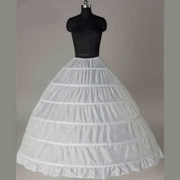 White 6 Hoops Petticoat Ball Gown Wedding Accessories Bridal Crinolines a Underskirt Bustle