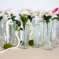 Instant Collection 27 Mixed Clear Glass Vases for Weddings and Baby Showers Cottage Chic Vintage Wedding