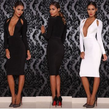 ac DCK83Q Strong Character Hollow Out Long Sleeve Prom Dress Deep V Slim Women's Fashion One Piece Dress [9266834828]