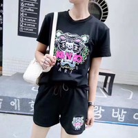"""Kenzo"" Women Casual Fashion Tiger Head Pattern Embroidery Short Sleeve Shorts Set Two-Piece Sportswear"