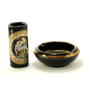 Vintage Art Pottery Ashtray, Lighter Case Holder, Ceramic Black Gold Ashtray Small Ceramic Ashtray, Ceramic lighter case, Greece Art Pottery