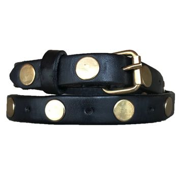 Large Stud Single-wrap Skinny Belt | Genuine Leather - Black with Gold