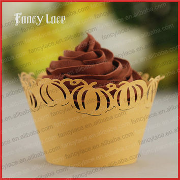 50PCS Hot Sale Helloween Party Cupcake Wrappers Hollow Out Paper Pumpkin Party Table Decorations Supplies