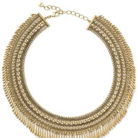 Classic Antique Gold Beads Layers Spike Fringe Collar Choker Necklace