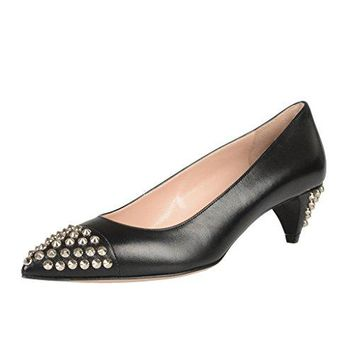 Miu Miu Black Leather Kitten Heel Pointy Toe Pumps Shoes