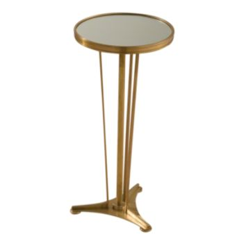 French Moderne Side Table-Antique Brass & Mirror