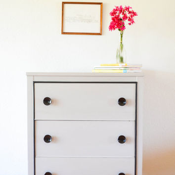 Retro dresser hand painted grey chalk paint Annie Sloan