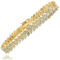 Finesque 18k Gold Overlay or Silver Overlay Diamond Accent Leaf Bracelet | Overstock.com Shopping - The Best Deals on Diamond Bracelets