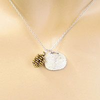 Log, Pine cone, Gold, Silver, Necklace, Cone, Necklace, Log, Necklace, Tree, Modern, Dainty, Cute, Funny, Unique, Friend, Gift, Jewelry