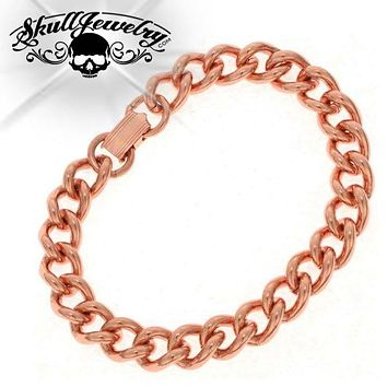 Solid Copper Heavy Mens Chain Link Bracelet (931)