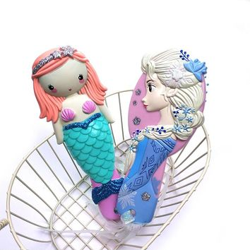 Disney Kids Comb 3D Princess Frozen Hair Brushes Hair Care Baby Girl Mermaid Hair Comb