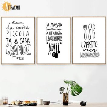 Spoon Fork Quotes Wall Art Canvas Painting Nordic Posters And Prints Black White Wall Pictures For kitchen Dining Room Decor