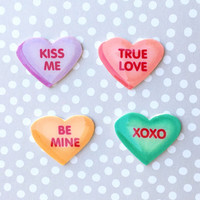 "Valentine's Day ""Conversation Cutie"" Conversation Heart Brooch Set Mix n Match"
