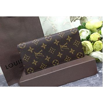 LV  Louis Vuitton Fashion Women Men Print Purse Wallet(4-Color) Coffee Monogram B