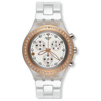 Swatch SVCK4067AG Unisex Full-Blooded Marvelous Pink Irony Diaphane White Dial Chronograph Watch
